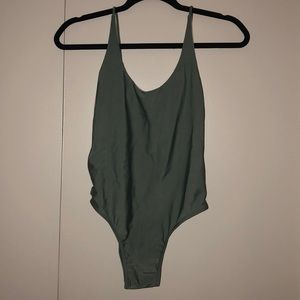 Olive green backless one-piece